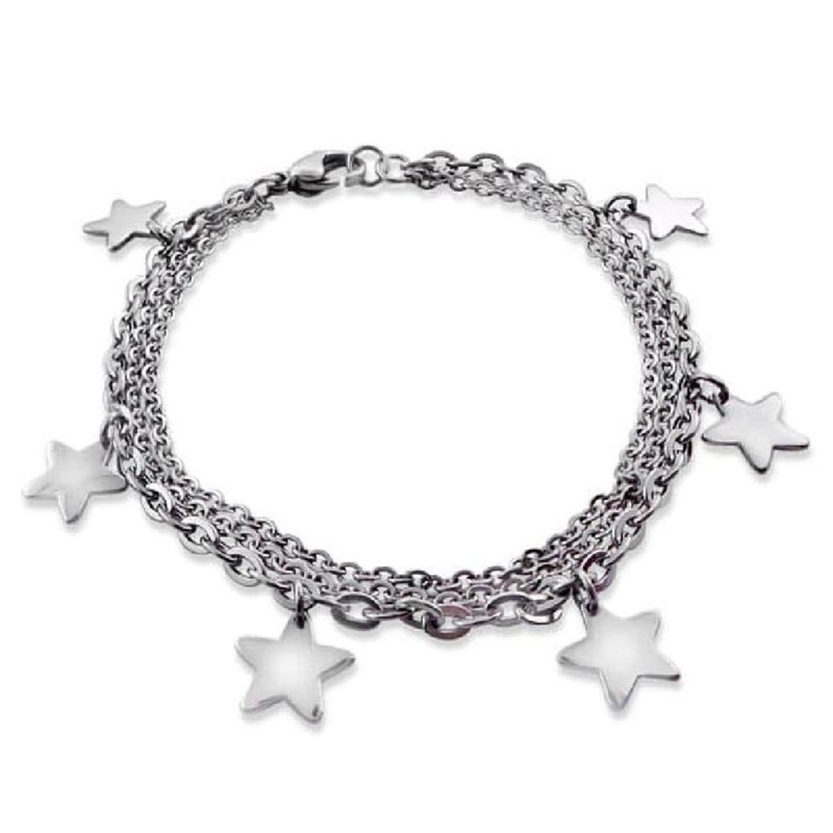 Bracelet Chaîne 18 cm Pampilles Etoiles Acier
