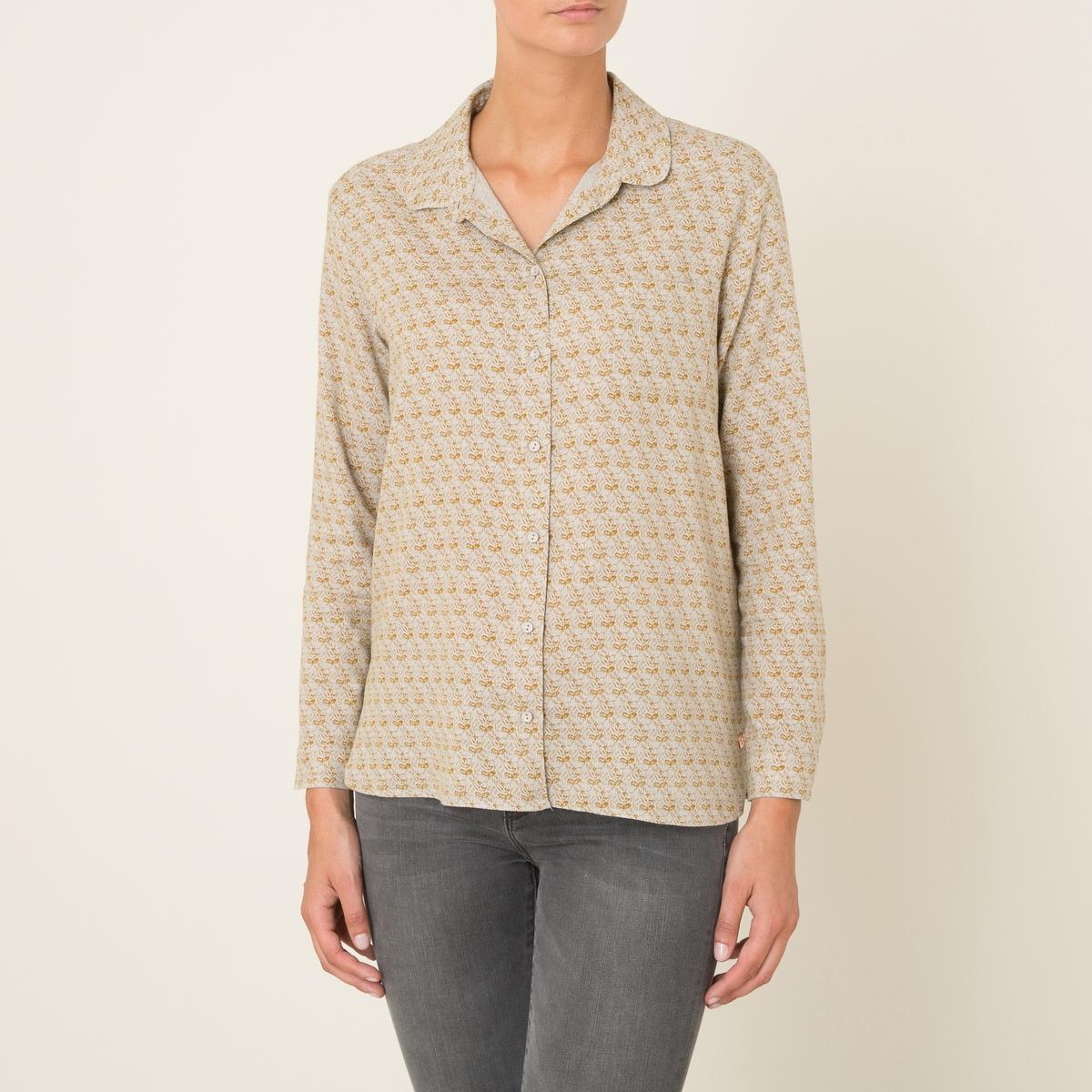 Рубашка VIENNEРубашка HARRIS WILSON - модель VIENNE. Ткань со сплошным рисунком. Закругленный воротник. 1 накладной нагрудный карман. Застежка на пуговицы спереди. Длинные рукава. Прямой низ. Состав и описание Материал : 59% вискозы, 41% хлопкаМарка : HARRIS WILSON<br><br>Цвет: бежевый