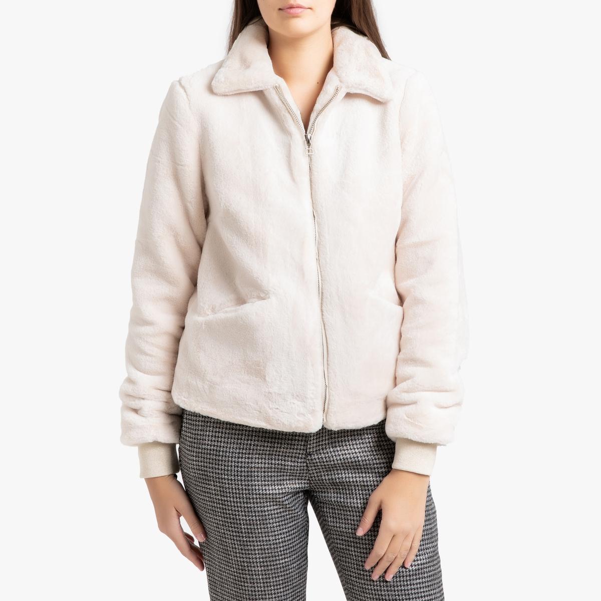 Пальто La Redoute Короткое на молнии с имитацией меха EDEN 3(L) бежевый