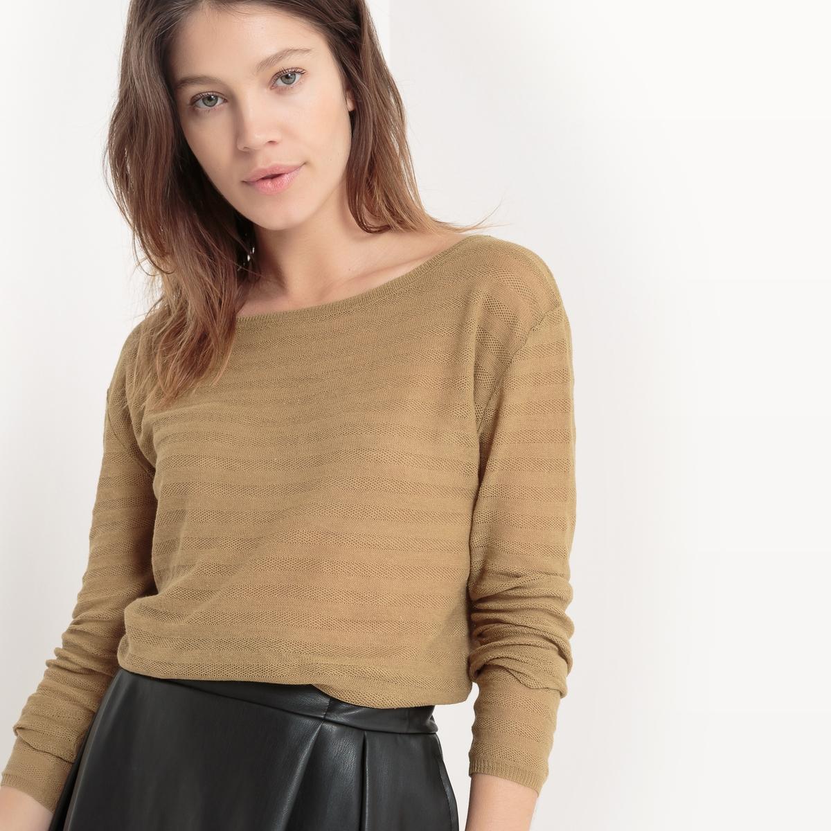 Пуловер с круглым вырезом из льна с ажурным эффектом брюки из лиоцелла и льна