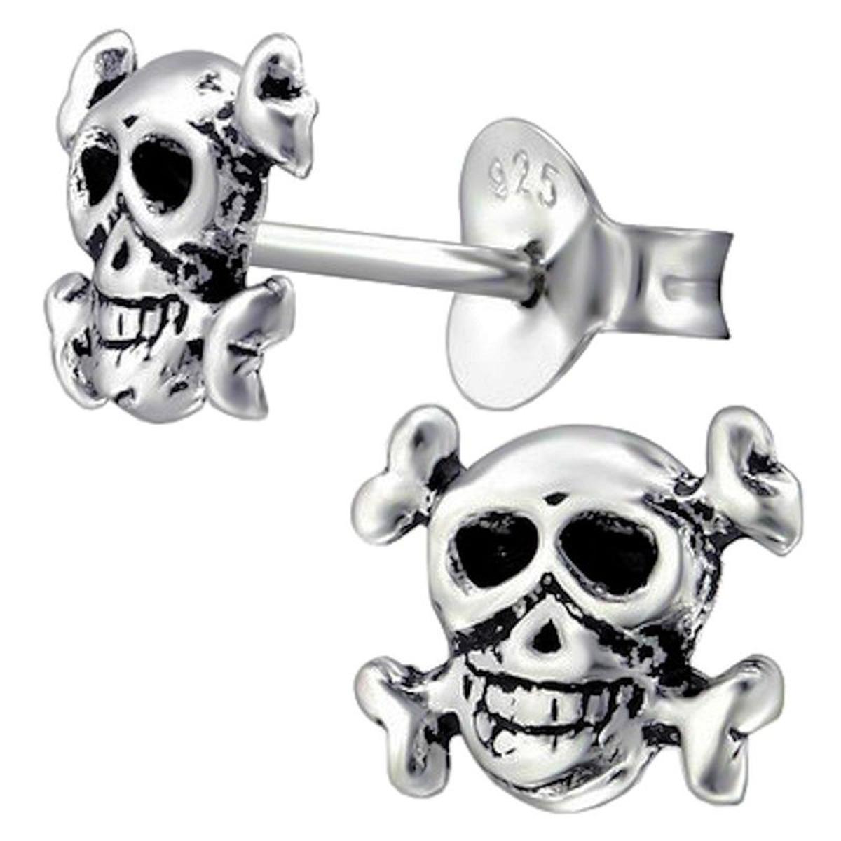 Boucles d'oreilles Crâne Tête de Mort Argent 925