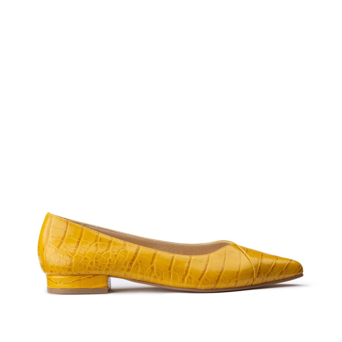 Балетки La Redoute Под кожу крокодила на плоском каблуке 36 желтый ботильоны la redoute на плоском каблуке 36 каштановый