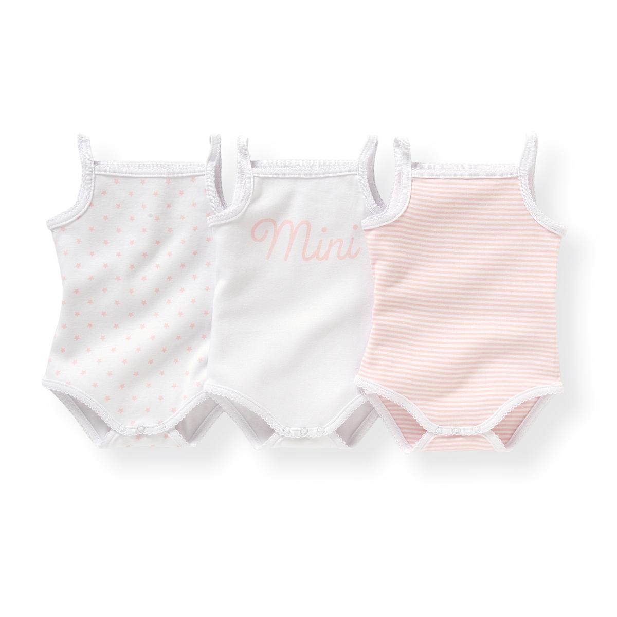Комплект из хлопковых боди для малышейДетали  •  Рисунок-принт  •  Для новорожденных •  Тонкие бретели  •  ХлопокСостав и уход  •  100% хлопок •  Температура стирки 40° •  Сухая чистка и отбеливание запрещены   •  Машинная сушка на деликатном режиме •  Низкая температура глажки<br><br>Цвет: Белый + розовая полоска + рисунок<br>Размер: 3 года - 94 см