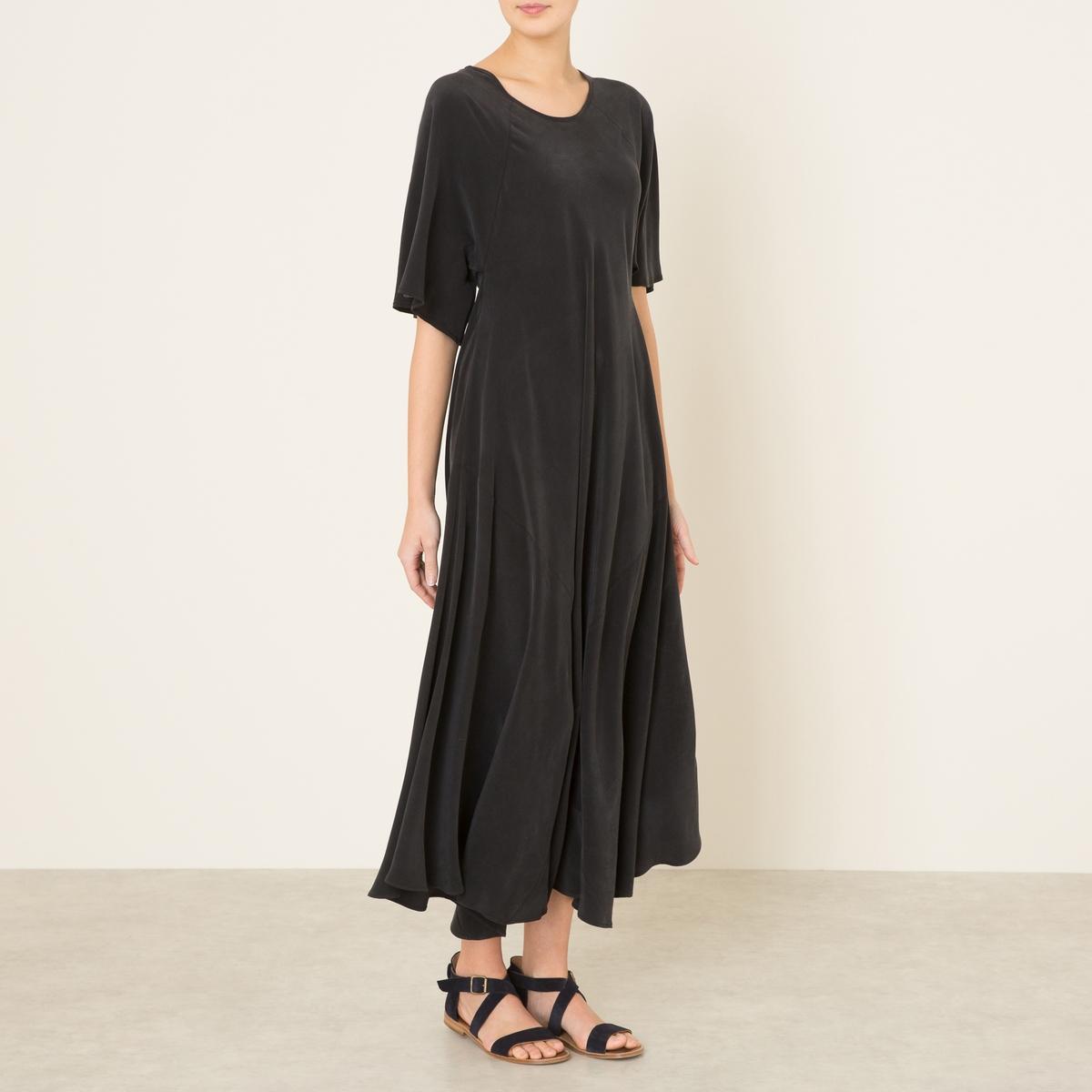 Платье длинное VEXINСостав и описание    Материал : 100% шелкДлина от края плеча: ок.130 см. для размера 36    Марка : TOUPY<br><br>Цвет: черный<br>Размер: M