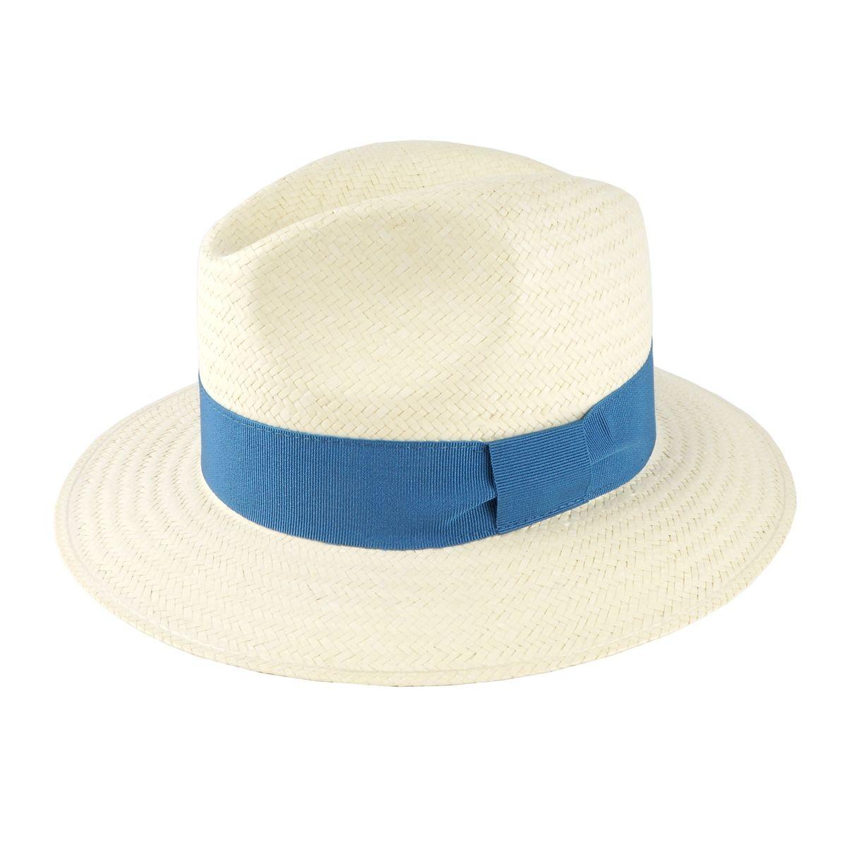 Chapeau de plage Panama bleu France
