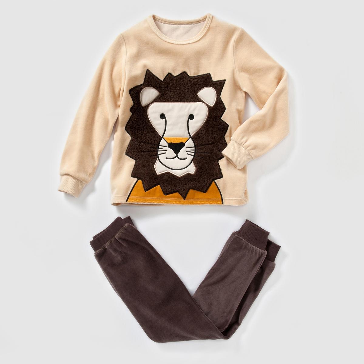 Пижама из велюра с рисунком лев, 2-12 лет
