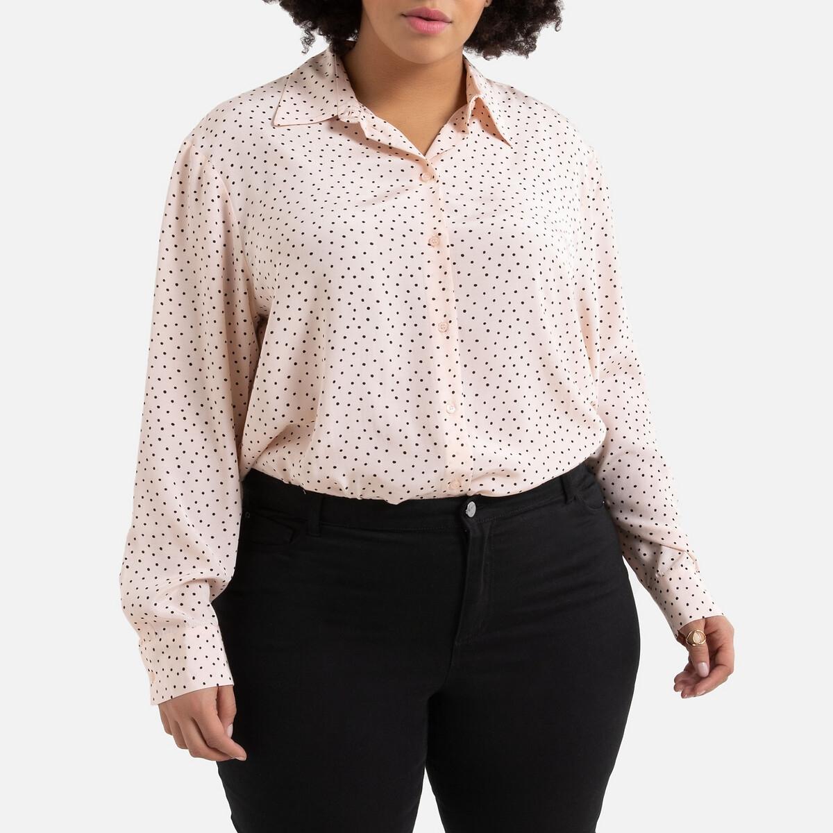 Рубашка La Redoute В горошек с длинными рукавами 56 (FR) - 62 (RUS) розовый