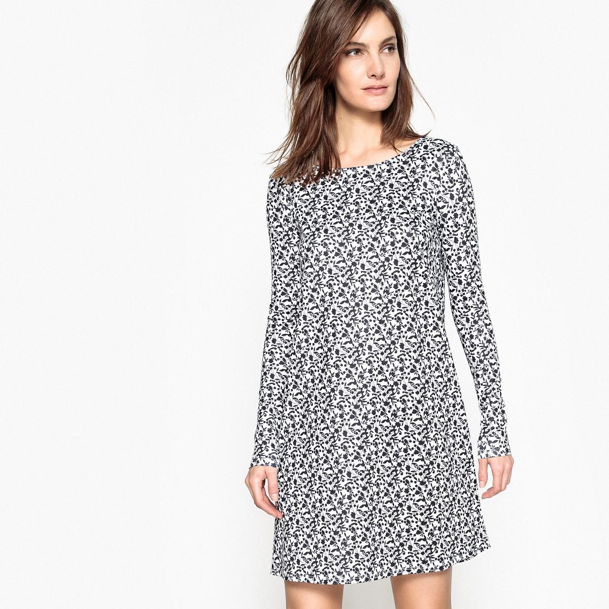 Платье свободное с цветочным рисунком