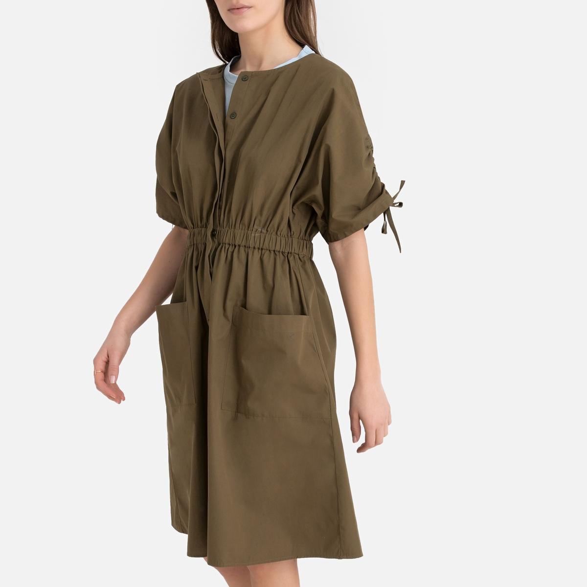 Платье La Redoute Прямое с короткими рукавами 46 (FR) - 52 (RUS) зеленый цена