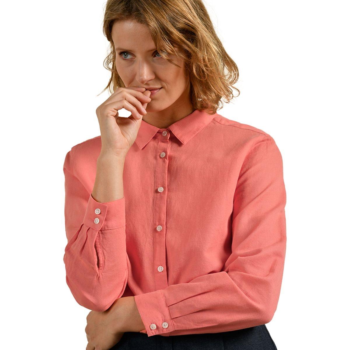 Chemise dos boutonné en coton lin
