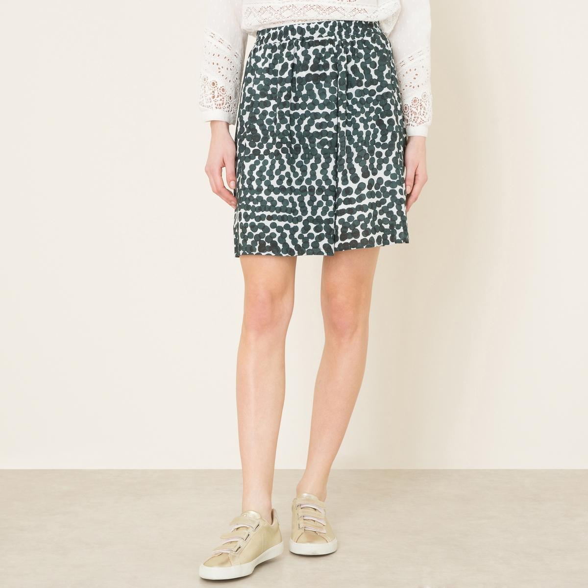 Юбка с рисункомКороткая юбка HARTFORD - с рисунком, из струящейся вискозы. Эластичный пояс. Складки спереди. 2 кармана в боковых швах. На подкладке. Состав и описание Материал : 100% вискозаПодкладка 100% вискозаДлина : 48 см. для размера 36Марка : HARTFORD<br><br>Цвет: набивной рисунок
