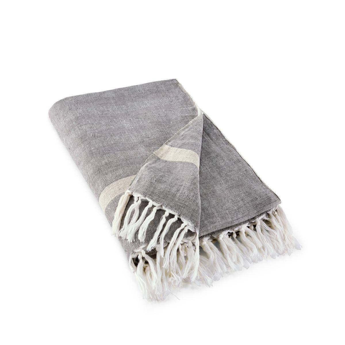 цена на Плед La Redoute Из ткани шамбре из льна Pokoba 130 x 170 см серый