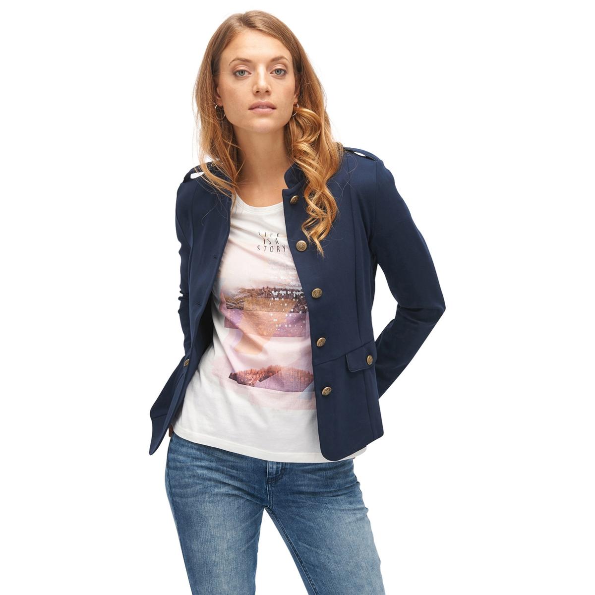 Куртка-блейзер приталеннаяДетали •  Блейзер •  Приталенный покрой  •  Воротник-стойкаСостав и уход •  67% вискозы, 6% эластана, 27% полиамида •  Следуйте рекомендациям по уходу, указанным на этикетке изделия<br><br>Цвет: темно-синий<br>Размер: XL