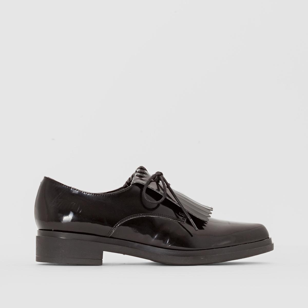 Ботинки-дерби с мексиканской планкой<br><br>Цвет: черный<br>Размер: 36.41