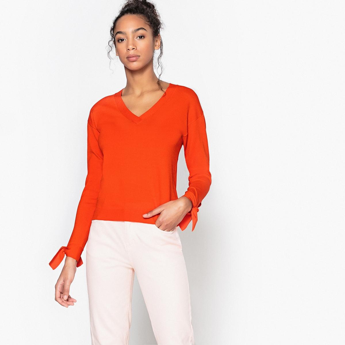 Пуловер La Redoute Из тонкого трикотажа с V-образным вырезом S оранжевый пуловер la redoute с v образным вырезом из тонкого трикотажа s черный