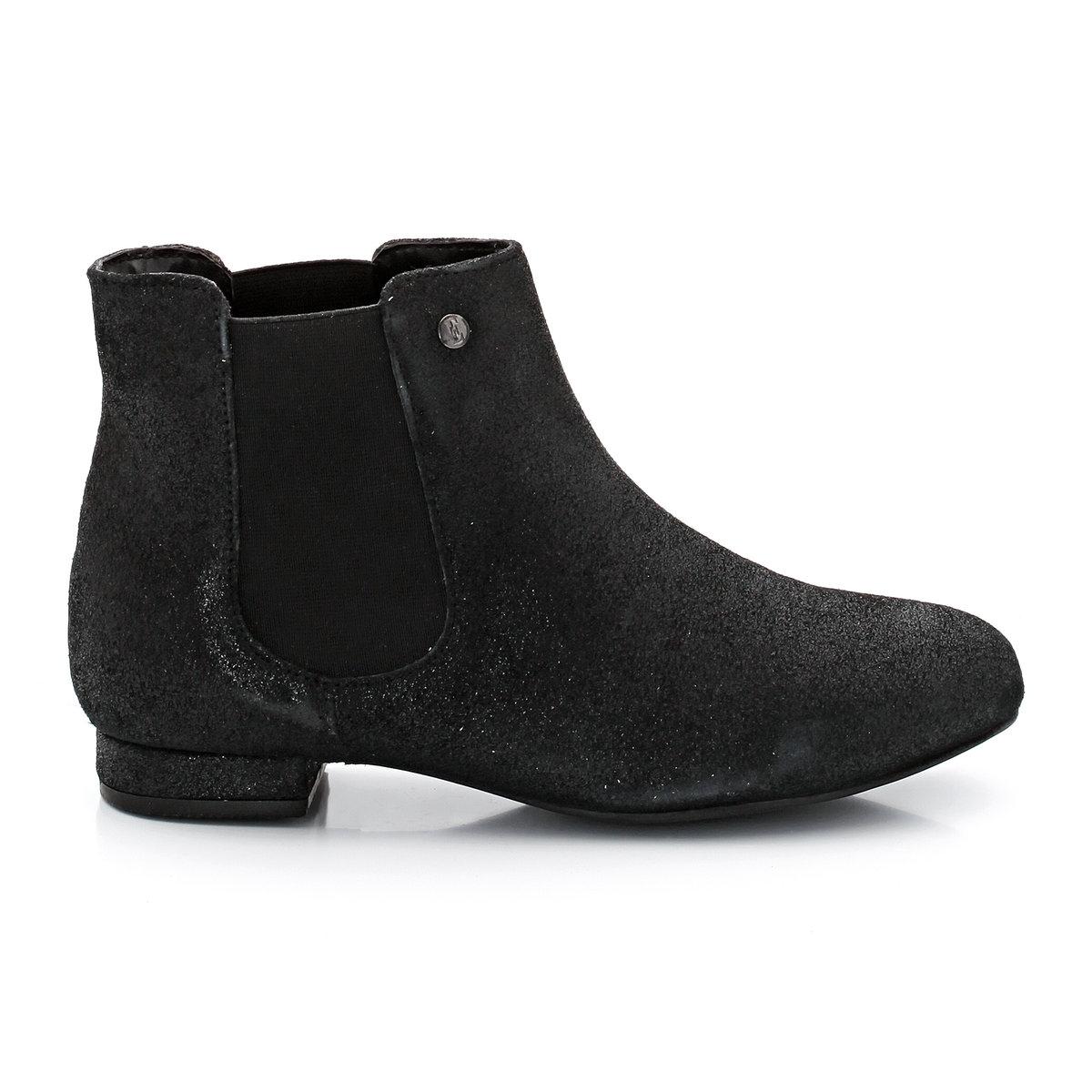 Ботинки из невыделанной кожи в стиле челсиБотинки в стиле челси для создания модного женственного образа: только ELLE!<br><br>Цвет: черный<br>Размер: 40