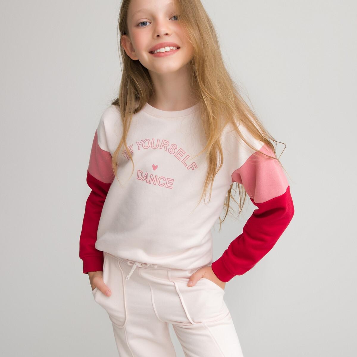 Свитшот LaRedoute С круглым вырезом из мольтона 3-14 лет 6 лет - 114 см розовый