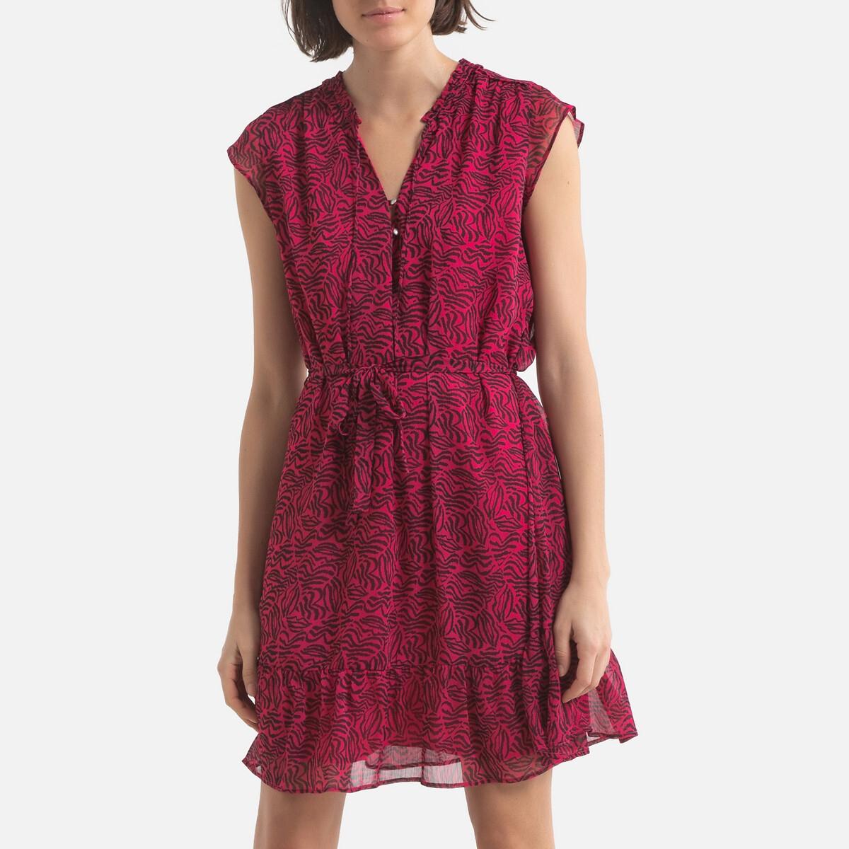 Платье-миди LaRedoute Расклешенное с графическим принтом 40 (FR) - 46 (RUS) розовый