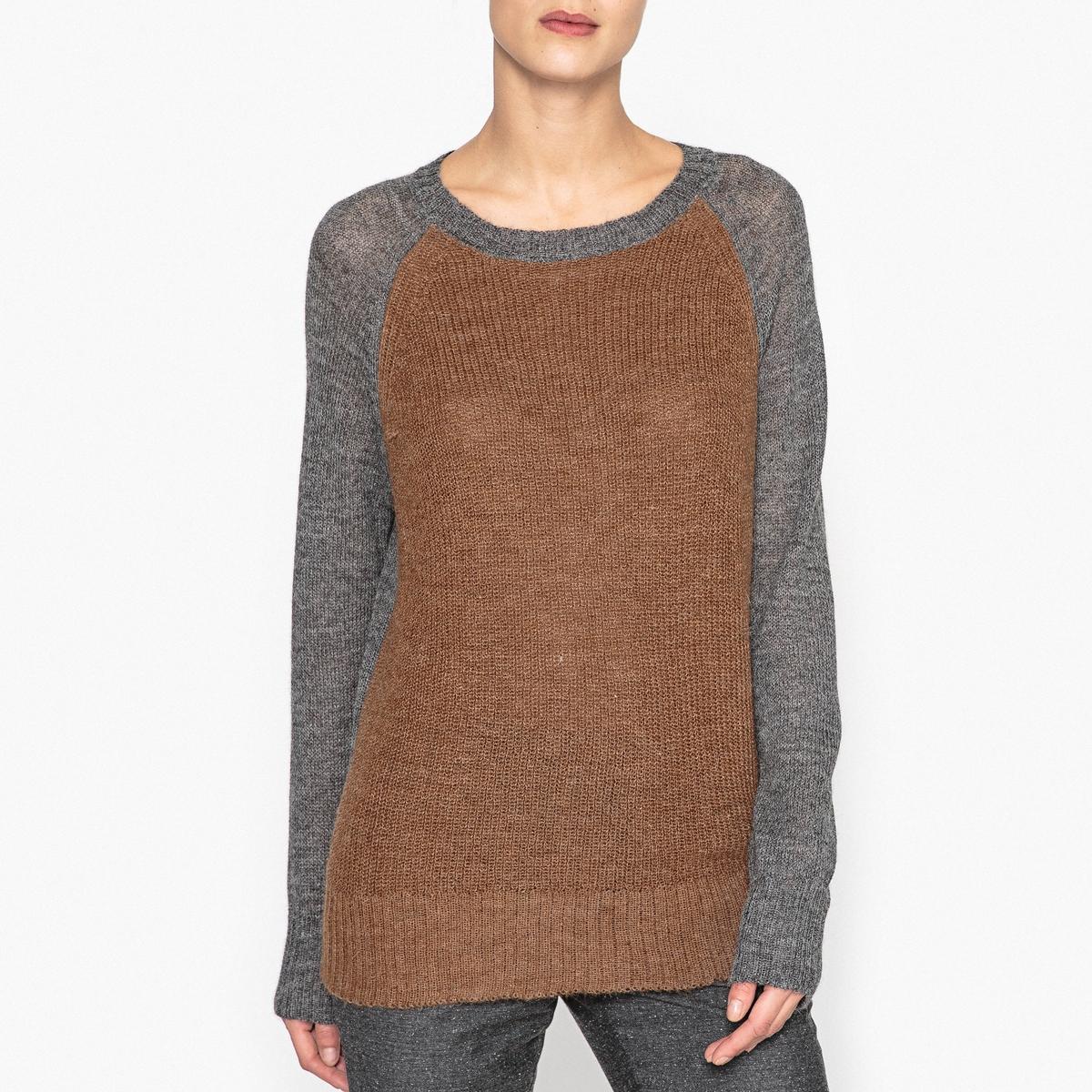 Пуловер двухцветный из альпаки PIUMITO