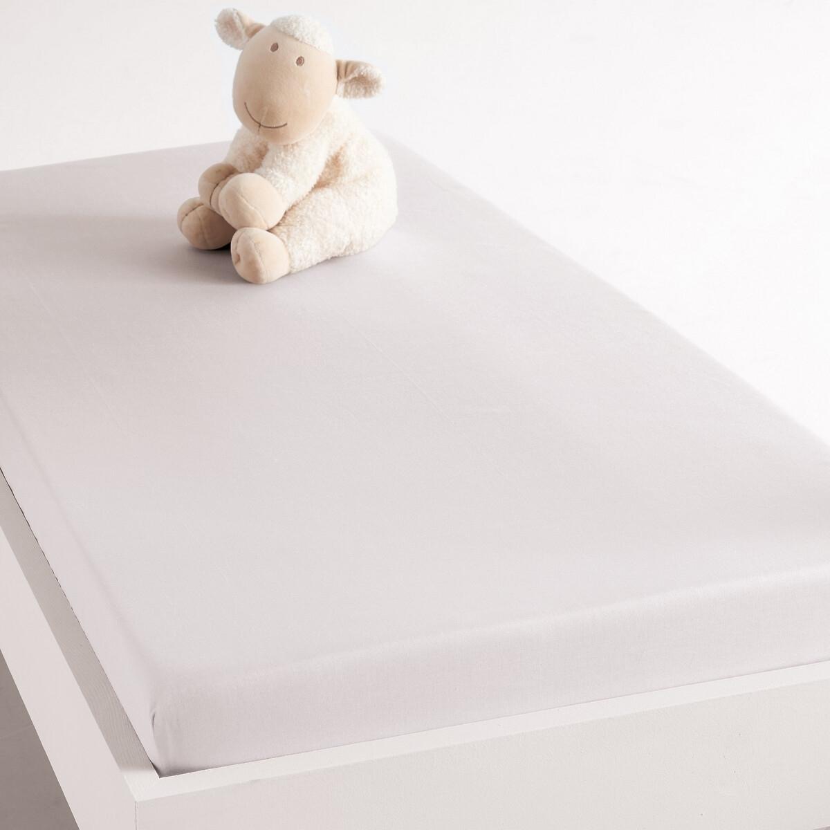 Натяжная простыня La Redoute Из хлопка для детской кровати 60 x 120 см белый комплект из полотенце для la redoute рук из хлопка и льна nipaly 50 x 100 см белый