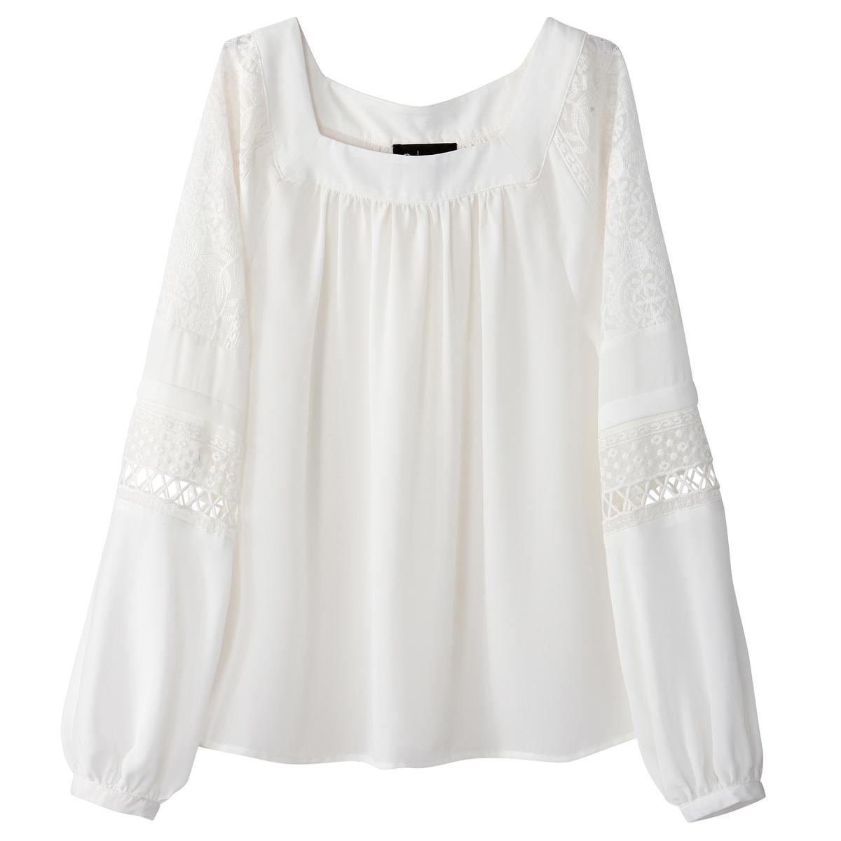 Блузка с квадратным вырезом со вставкой из кружева