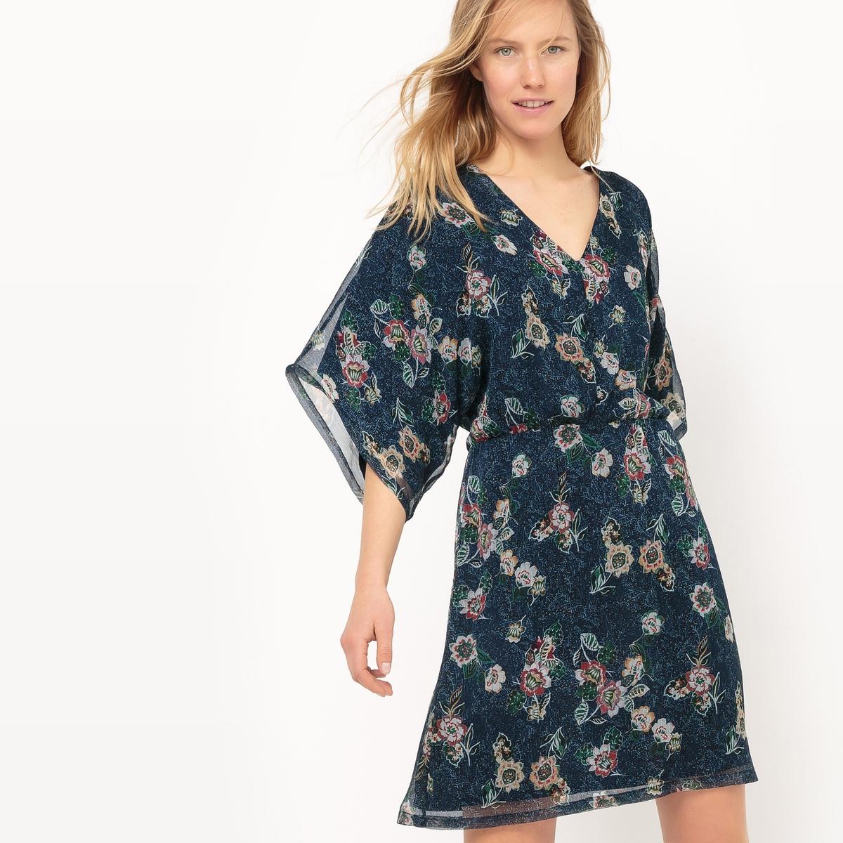 Платье короткое с декольте спереди и цветочным рисунком