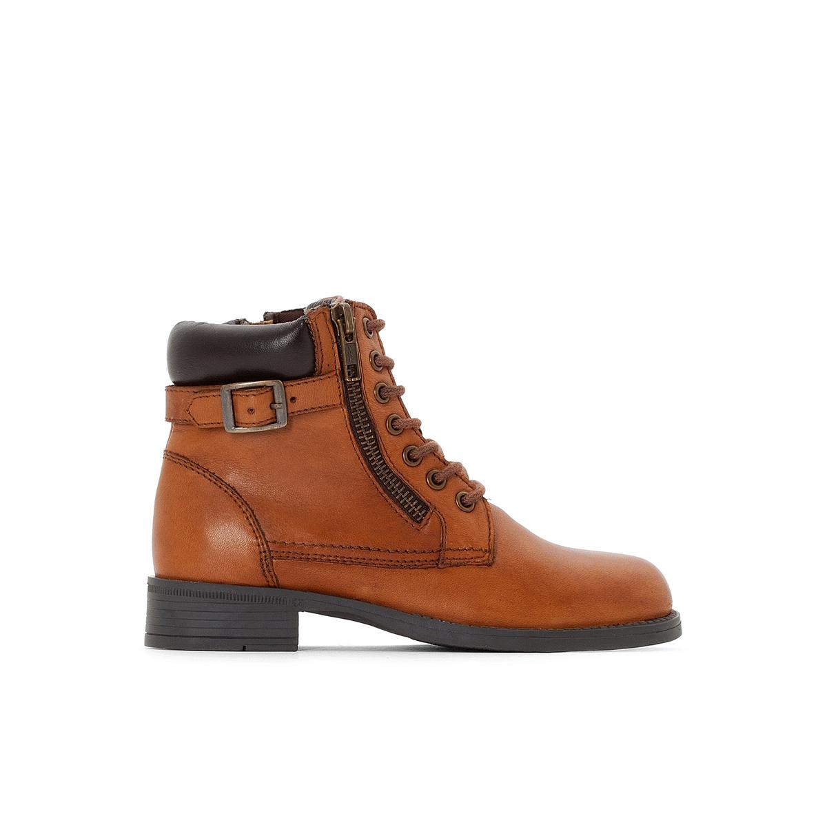 Ботинки кожаные на молнии и шнуровке 28-38 цены онлайн