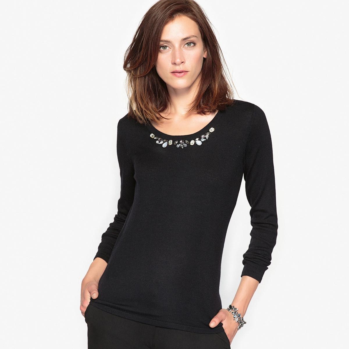 Пуловер с отделкой бижутерией, 10% шерсти