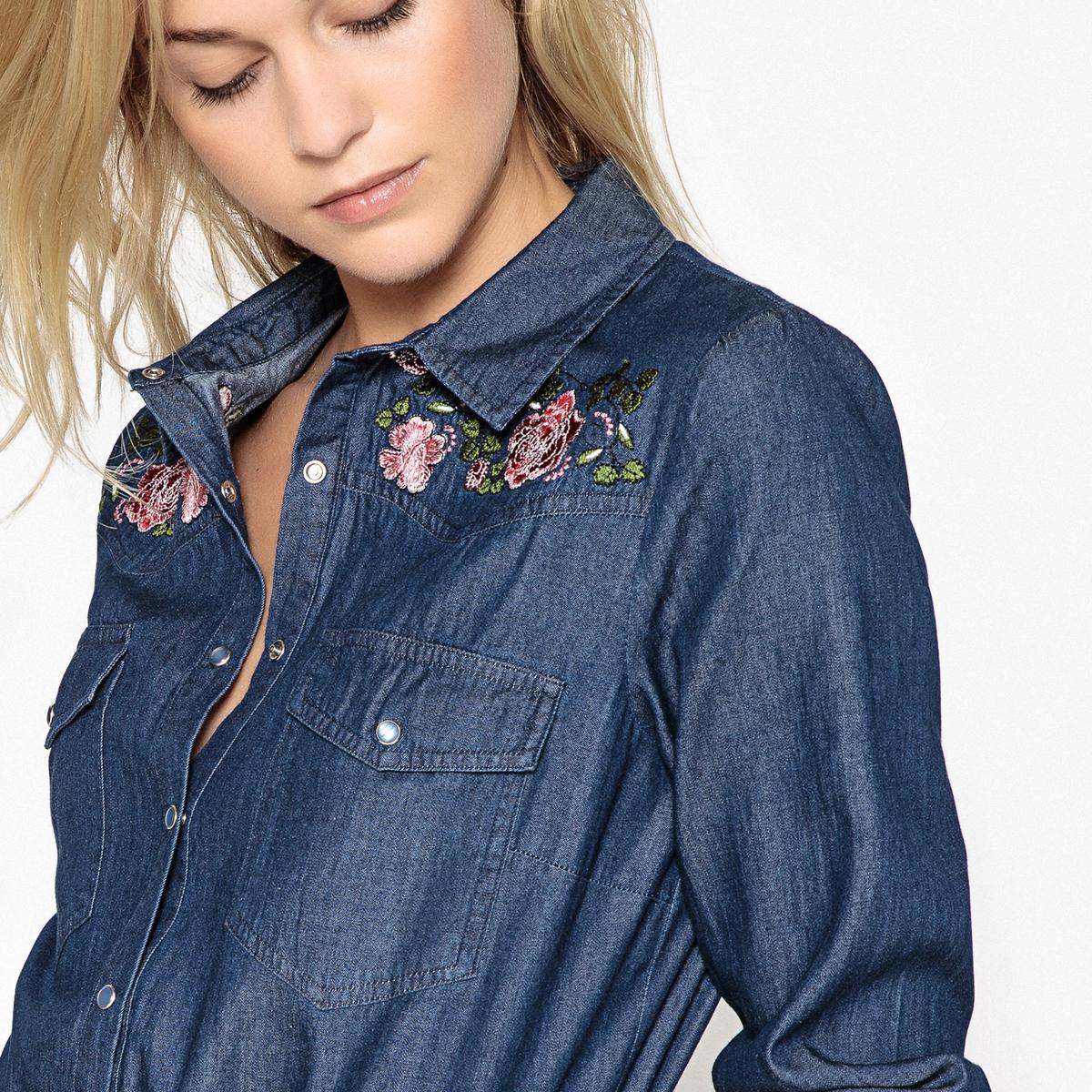 Рубашка из денима с цветочным рисунком