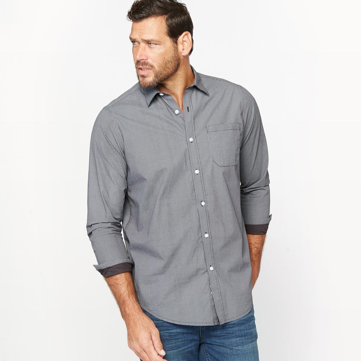 Рубашка с рисункомМатериал : Поплин из 100% хлопка. Длина передней части от 83 до 90 см в зависимости от размера.Марка : CASTALUNA FOR MEN.Уход : Машинная стирка при 30 °C.<br><br>Цвет: черный<br>Размер: 51/52