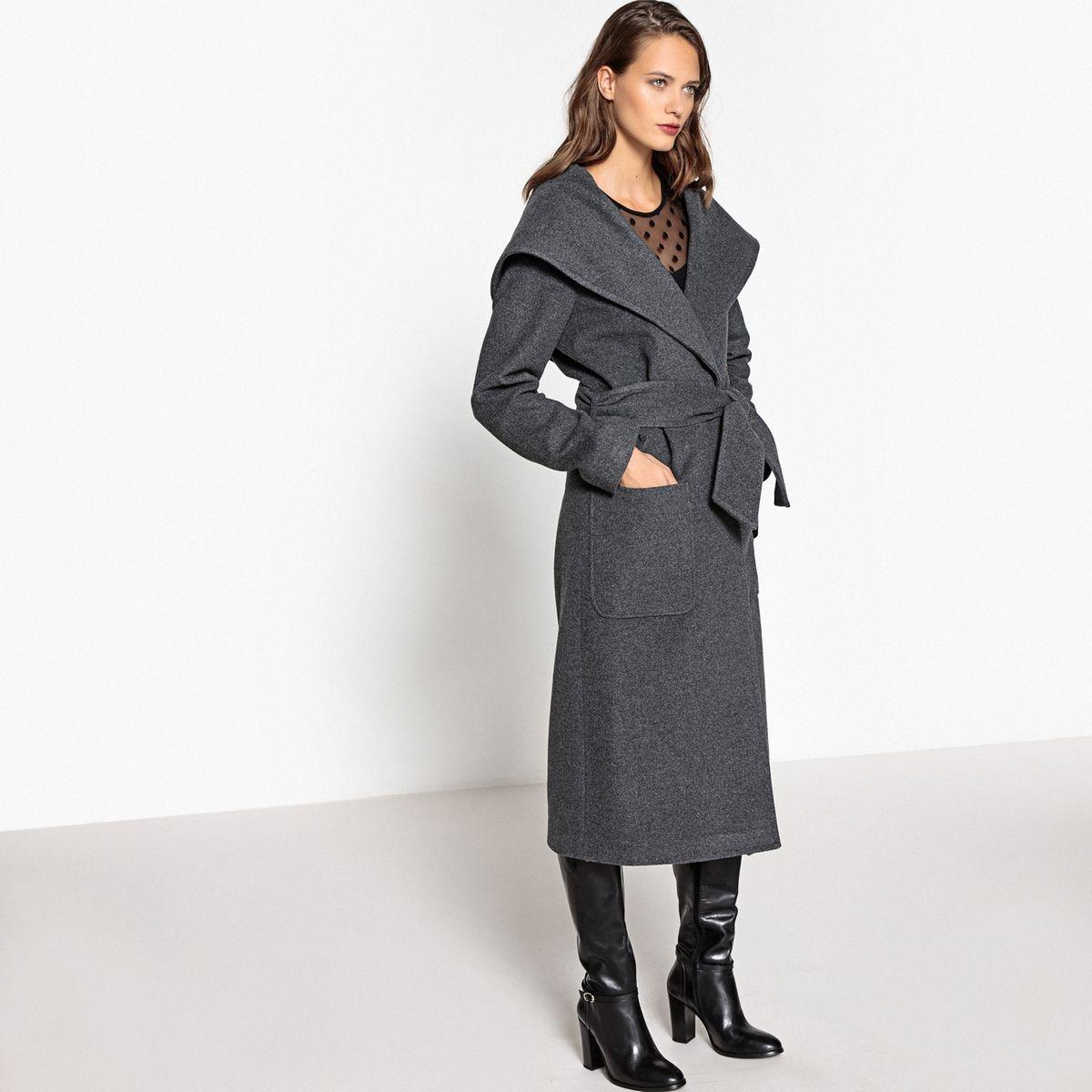 Manteau à capuche à ceinturer en drap de laine
