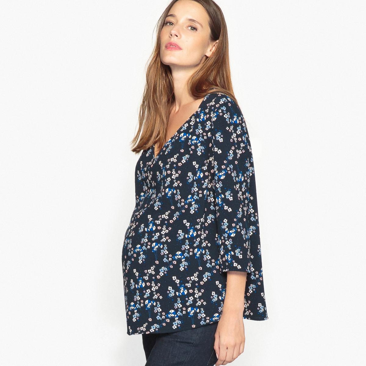 Блузка для периода беременности с V-образным вырезом и рукавами 3/4 от LA REDOUTE MATERNITE