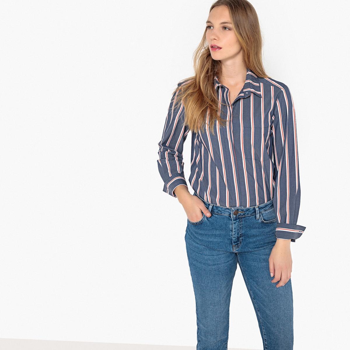 Рубашка прямого покроя в полоску с длинными рукавами рубашка прямого покроя большого размера с контрастными пуговицами