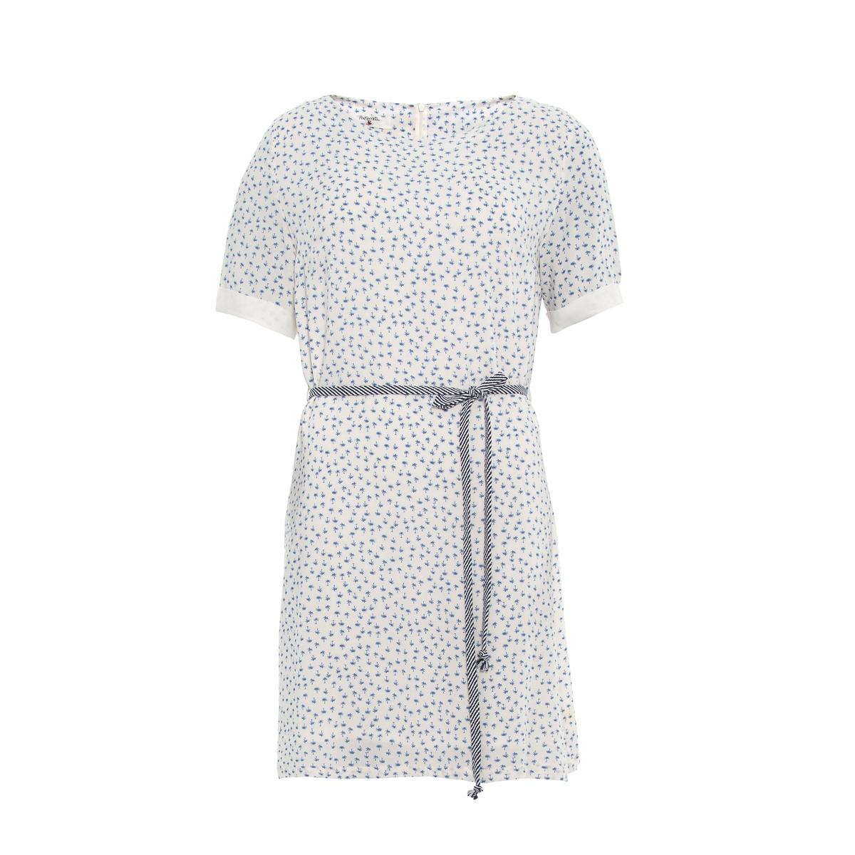 платье с короткими рукавами, с принтом и завязками PARAMITAСостав и описание:Материал : 100% вискозыМарка : PARAMITA<br><br>Цвет: белый/синий рисунок<br>Размер: M