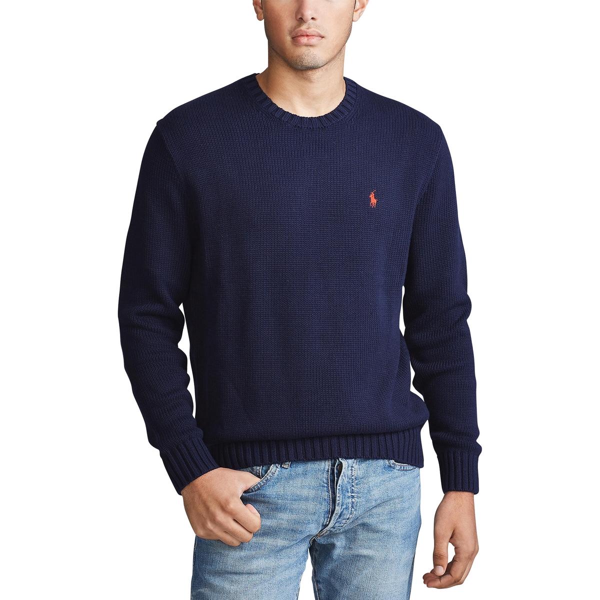 Пуловер La Redoute Хлопковый с круглым вырезом L синий пуловер la redoute с круглым вырезом из шерсти мериноса pascal 3xl черный