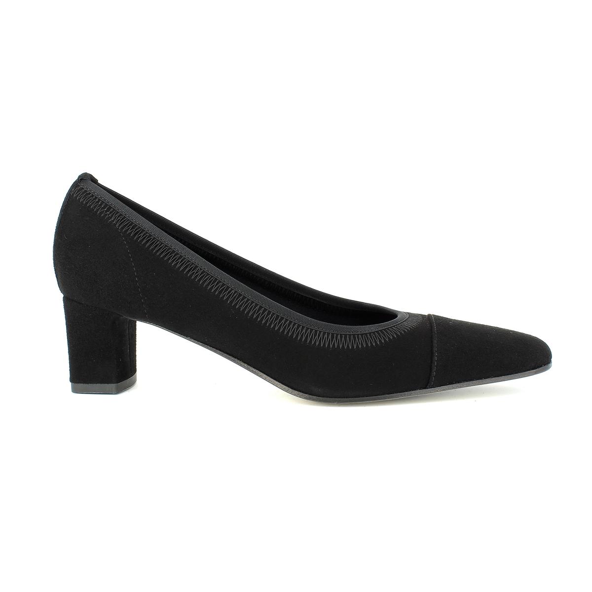 Туфли велюровые на каблуке, ERESПодкладка: Кожа и синтетический материал.Стелька: Кожа.Подошва: Кожа и синтетический материал.Высота каблука: 5 см.   Форма каблука: широкая.Мысок: круглый.          Застежка: Без застежки.<br><br>Цвет: черный<br>Размер: 38