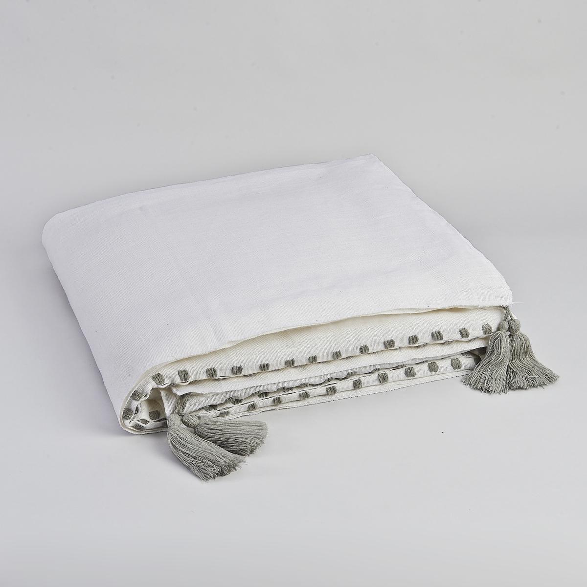 Покрывало Yegara от дизайнера В. БарковскиСостав :100% лен с вышивкой серого цвета и помпонами в каждом углу из 100% акрила.Уход :Стирка при 30°Размеры :180 x 230 см<br><br>Цвет: экрю