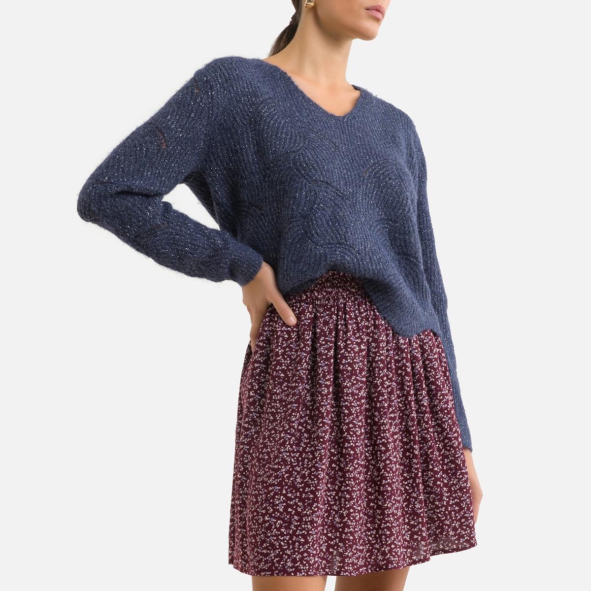 Фото - Пуловер LaRedoute Из ажурного трикотажа V-образный вырез L синий пуловер laredoute с воротником стойкой из ажурного трикотажа пуантель m каштановый
