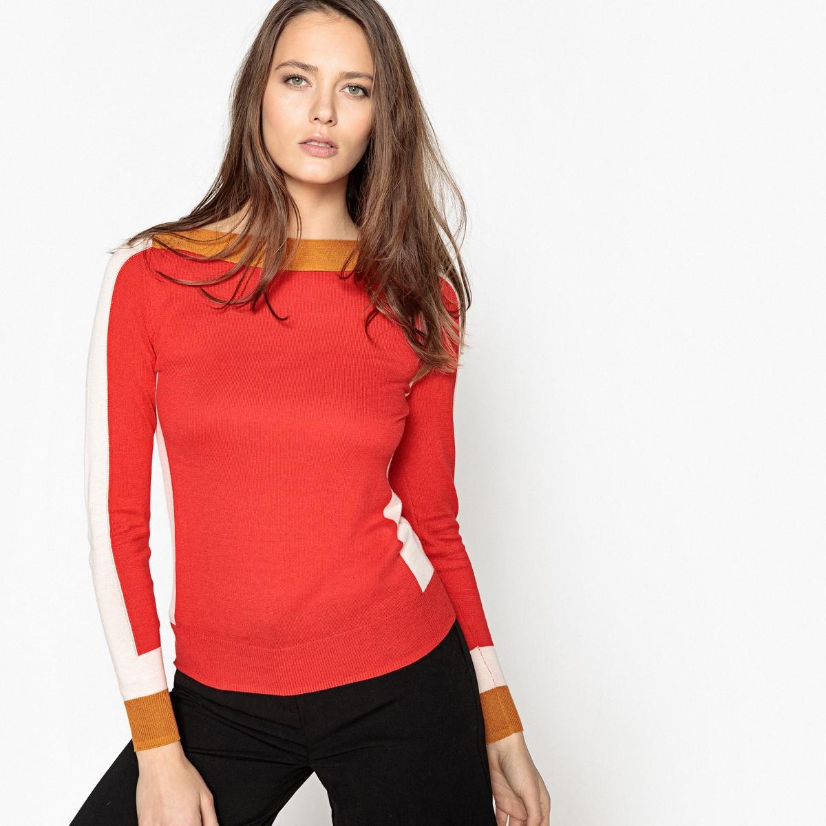 Пуловер с вырезом-лодочка из тонкого трикотажа