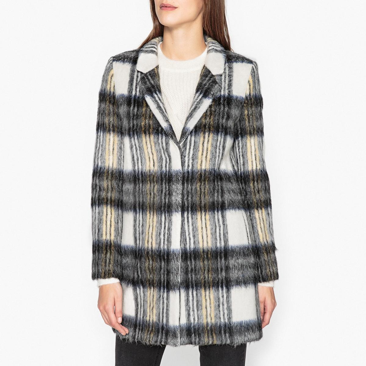 Пальто средней длины в клетку пальто metz средней длины