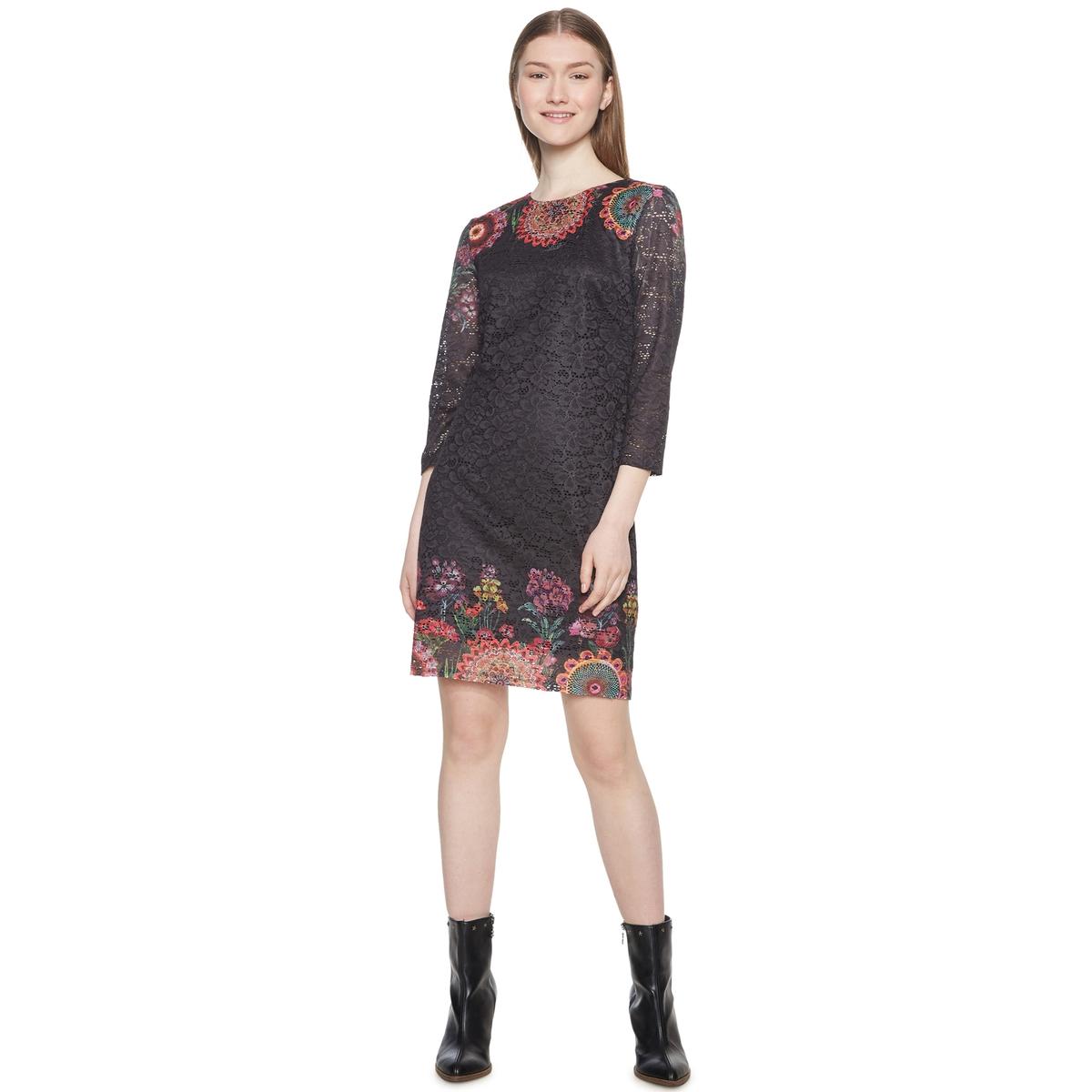 Платье короткое из кружева, с рукавами 3/4 платье короткое с рукавами 3 4