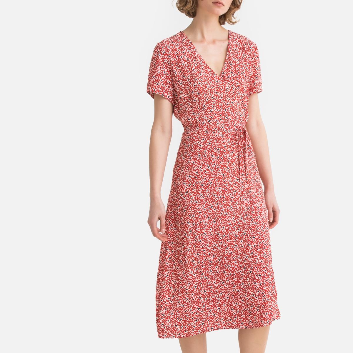 Платье La Redoute С запахом с цветочным рисунком 40 (FR) - 46 (RUS) разноцветный платье миди la redoute с запахом с цветочным принтом 54 fr 60 rus другие
