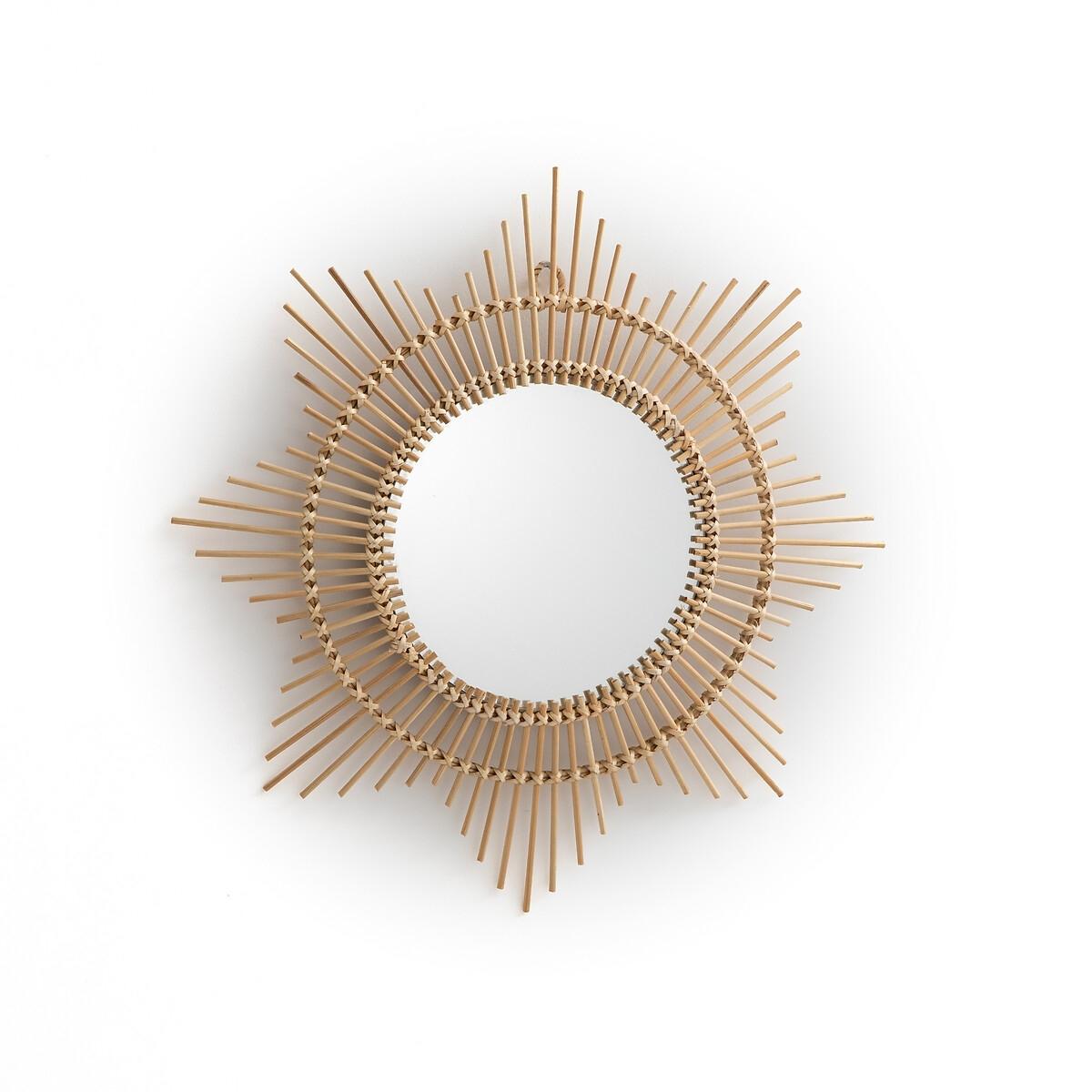 Зеркало LaRedoute Выпуклое из бамбука в форме солнца 45 Nogu единый размер бежевый