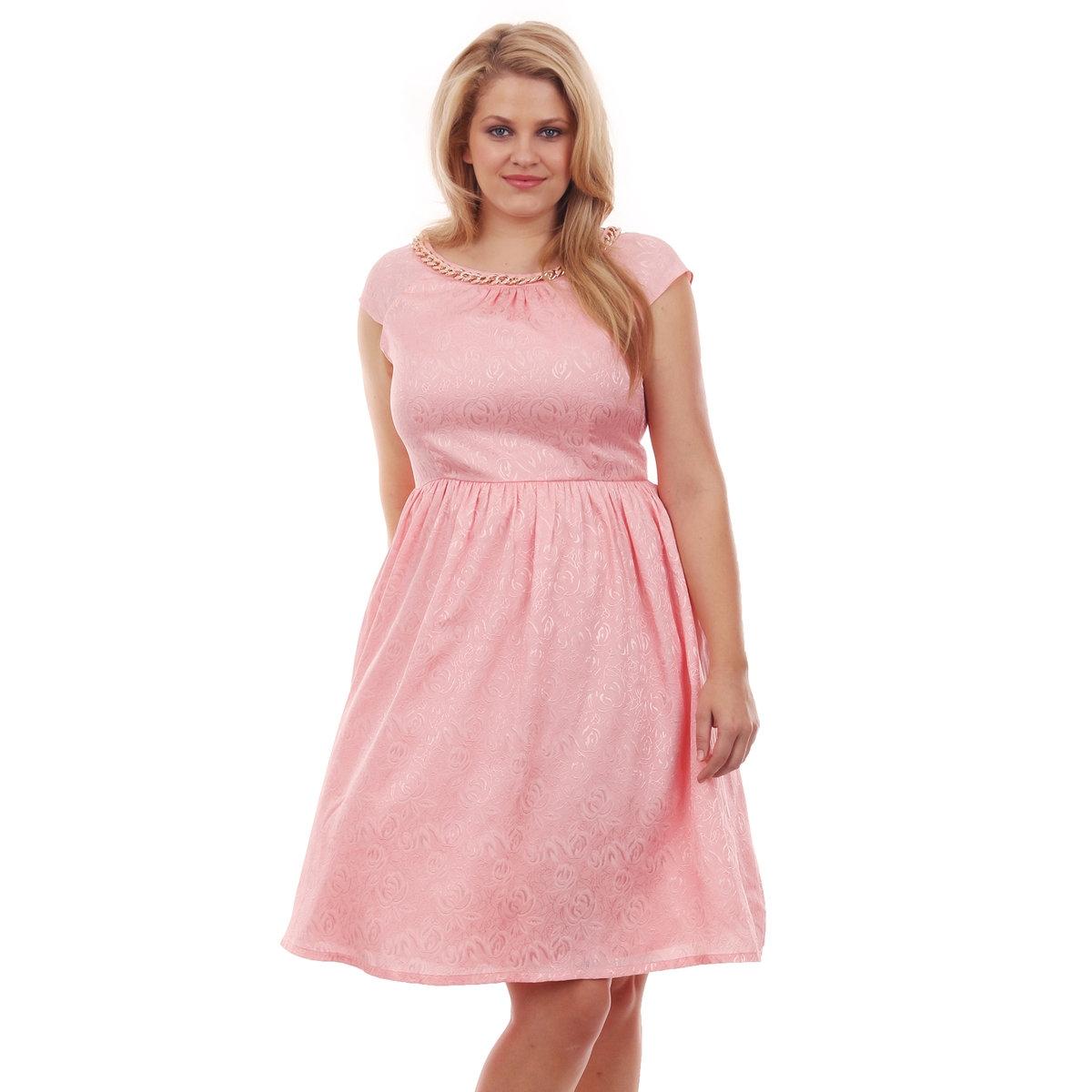 ПЛАТЬЕПлатье короткое KOKO, короткий рукав, длина ок.96 см. 100% полиэстер<br><br>Цвет: розовая пудра<br>Размер: 48 (FR) - 54 (RUS)