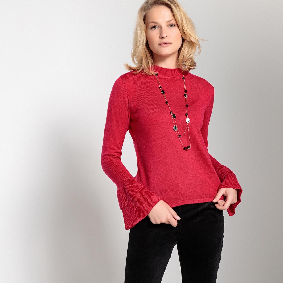Пуловер La Redoute С воротником-стойкой и рукавами с воланами из тонкого трикотажа 46/48 (FR) - 52/54 (RUS) розовый