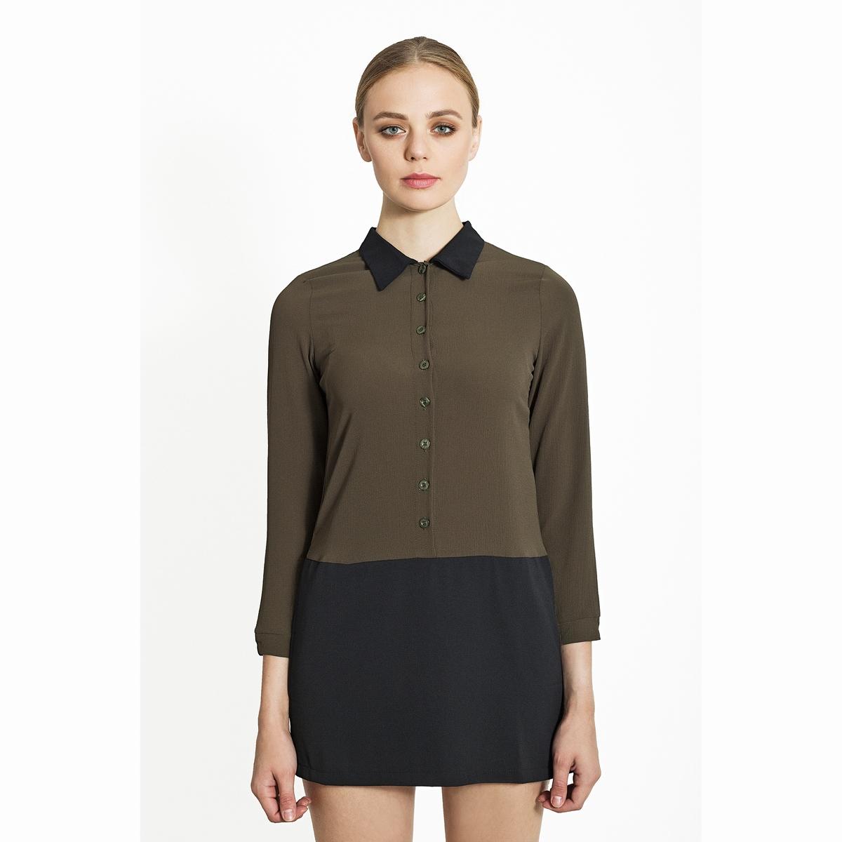 Комбинезон, рубашка и юбка-шортыКомбинезон, рубашка и юбка-шорты. Высокий контрастный воротник рубашечного типа, длинные рукава, застёжка на пуговицы спереди. Нижняя часть в виде юбки-шортов. Состав и описаниеМатериалы : 100% полиэстер.Марка : Migle+MeУходСледуйте рекомендациям по уходу, указанным на этикетке изделия.<br><br>Цвет: черный/ хаки<br>Размер: S