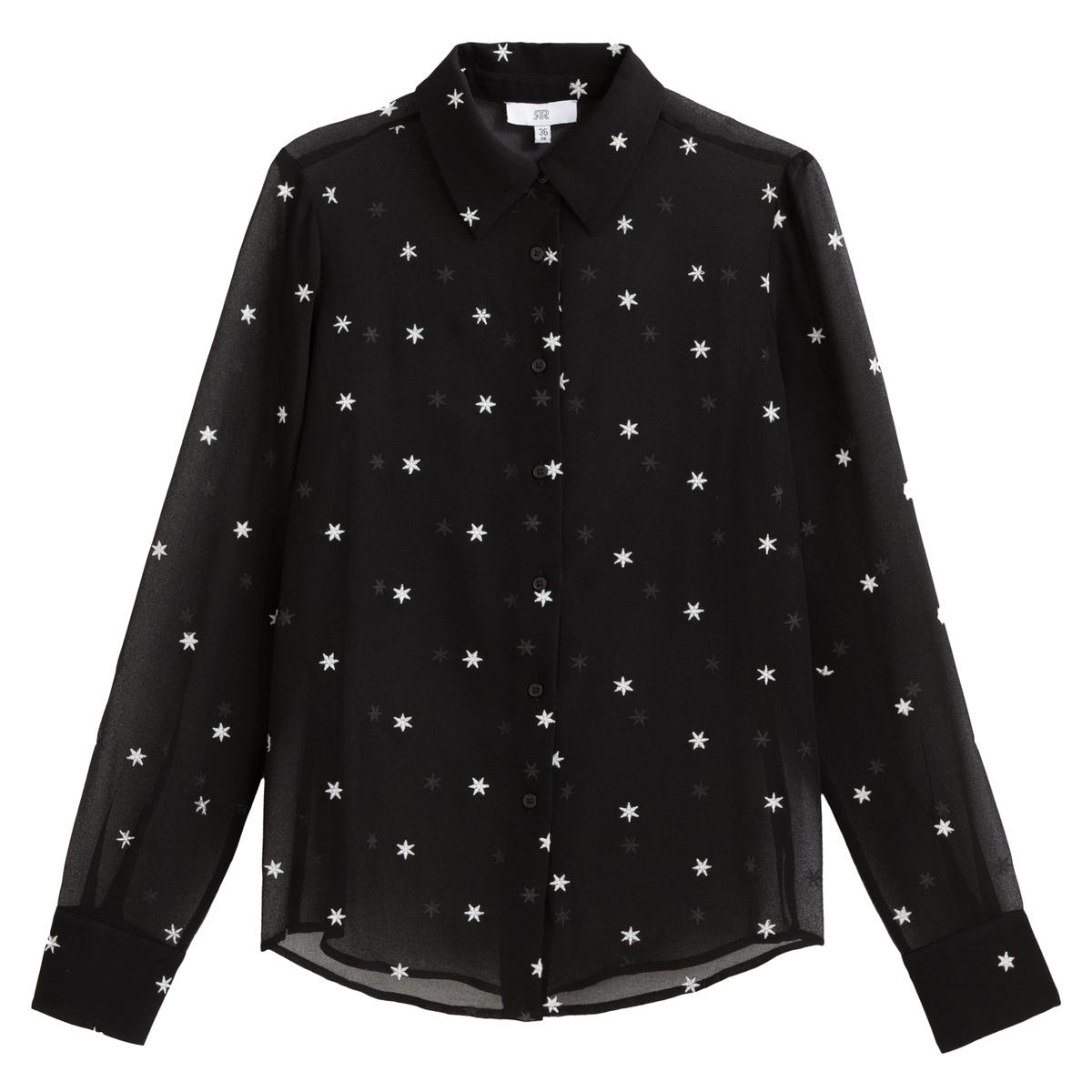 Blusa con bordados de estrellas y manga larga
