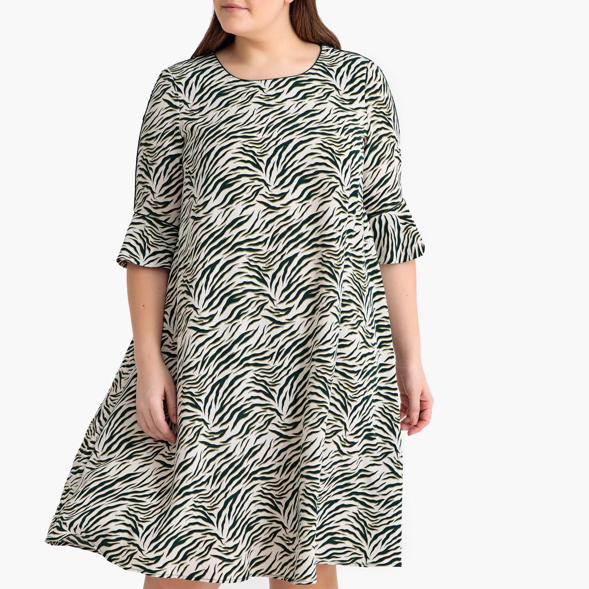 Платье-миди La Redoute Расклешенное с рисунком зебра 42 (FR) - 48 (RUS) белый