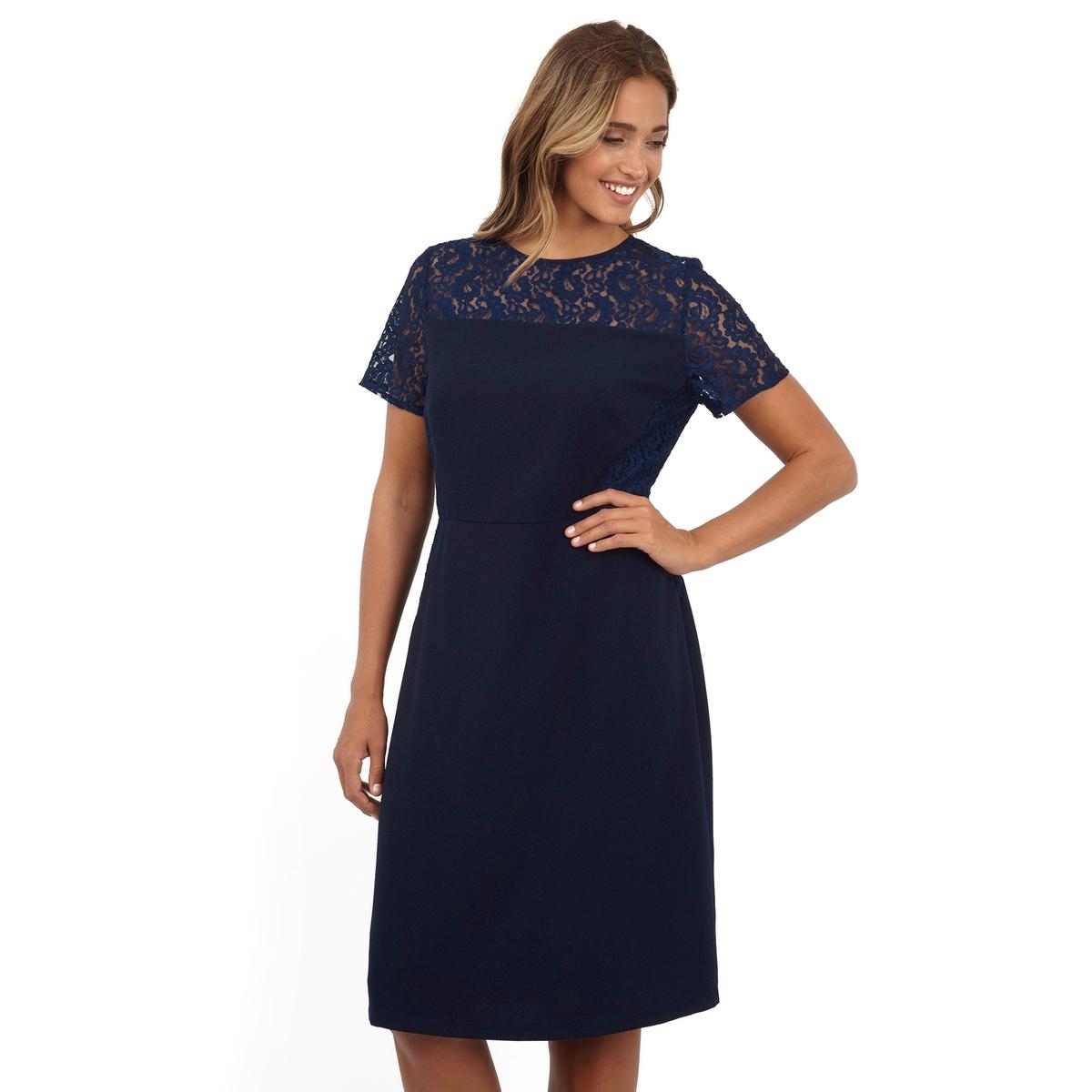 ПлатьеПлатье с короткими рукавами - LOVEDROBE. Симпатичное кружево в верхней части. 100% полиэстер. Длина ок.104 см<br><br>Цвет: синий морской<br>Размер: 46 (FR) - 52 (RUS)