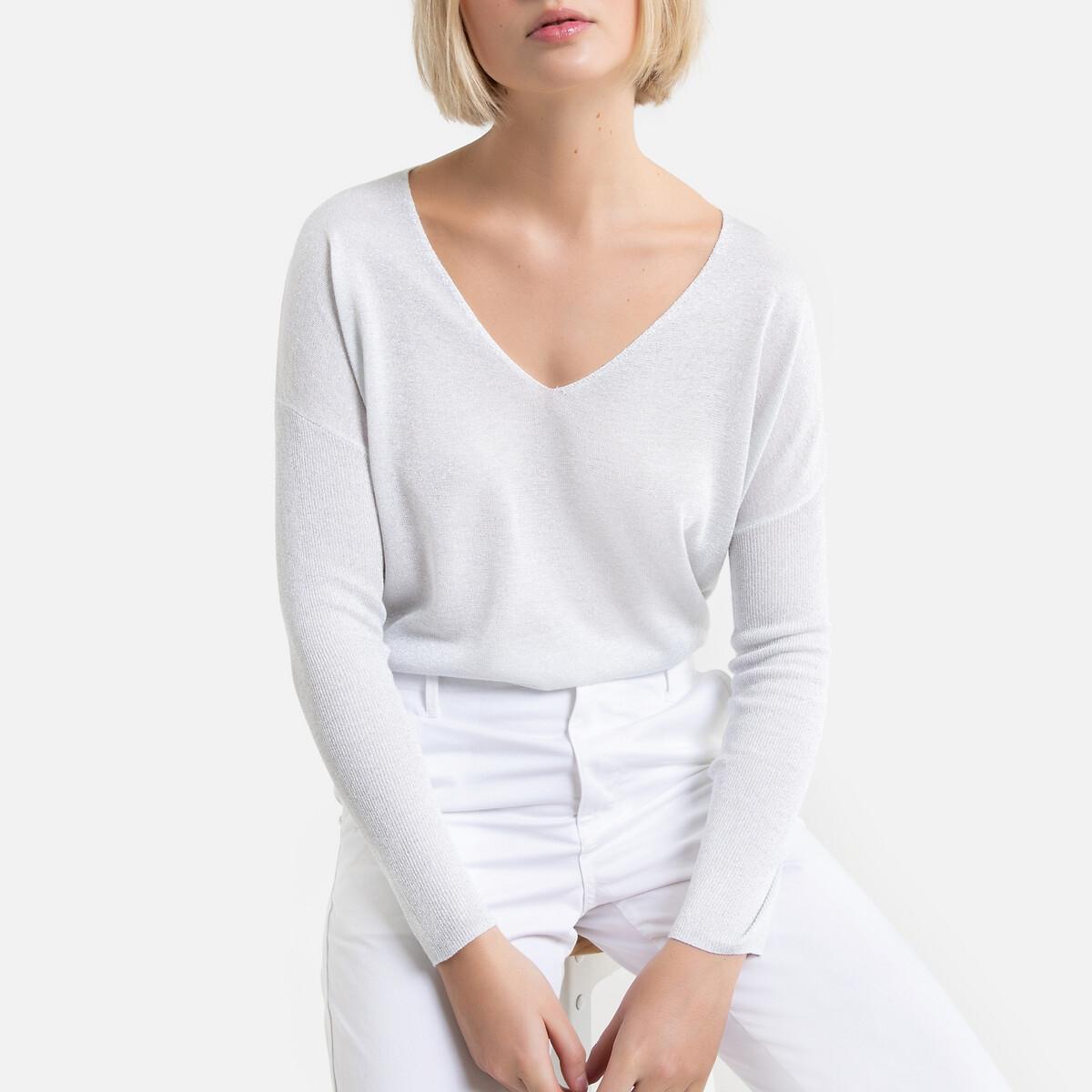цена Пуловер La Redoute С длинными рукавами с v-образным вырезом Merrie 2(M) серебристый онлайн в 2017 году